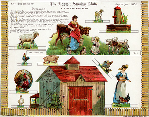 New England Farm Paper Toy
