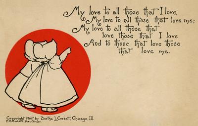 Sunbonnet Babies Valentine Postcard by Bertha Corbett